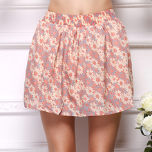 new 2016 summer skirts women Bohemian floral print super natural miniskirts A-Line Above knee Chiffon short elastic kilts