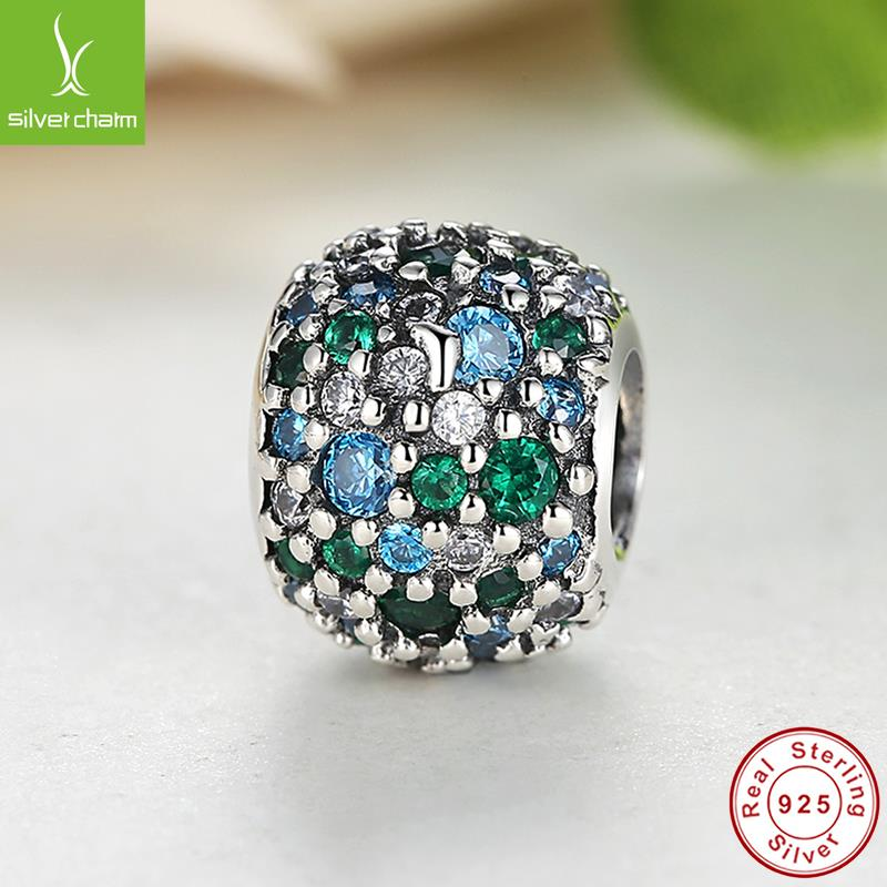 Genuine 925 Sterling Silver Ocean Mosaic Charm Beads Fit Original Pandora Bracelet Necklace Authentic Jewelry New Year Gift<br><br>Aliexpress