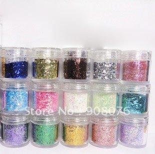 Best selling !! 12Color Nail Art Glitter Powder Dust nail Decoration Bottle Set 12PCS/Set Free shipping(China (Mainland))