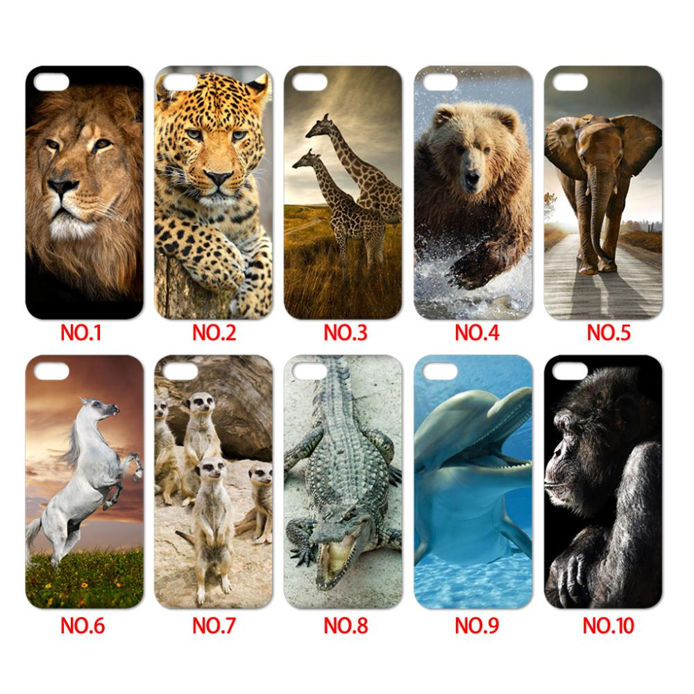 Cell phone cases for iphone 4 4s 5 5s of natural animals lion leapord horse crocodile dolphin etc luxury protective case newest(China (Mainland))