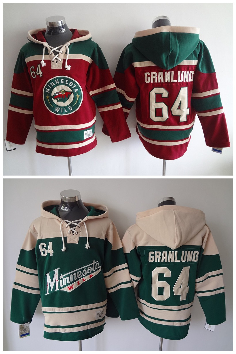 2016 Old Time Hockey Jerseys Hoody Minnesota Wild 64 Mikael Granlund Hoodie Sport Authentic Sweatshirts Jacket