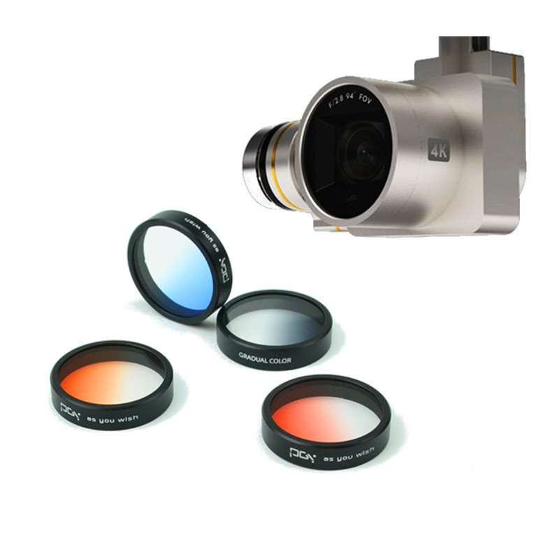 Filter Lens colorful Gradient Filter Lens Gradient Red Orange Blue Gray For DJI Phantom 4 Phantom 3 Quadcopter Helicopter Parts