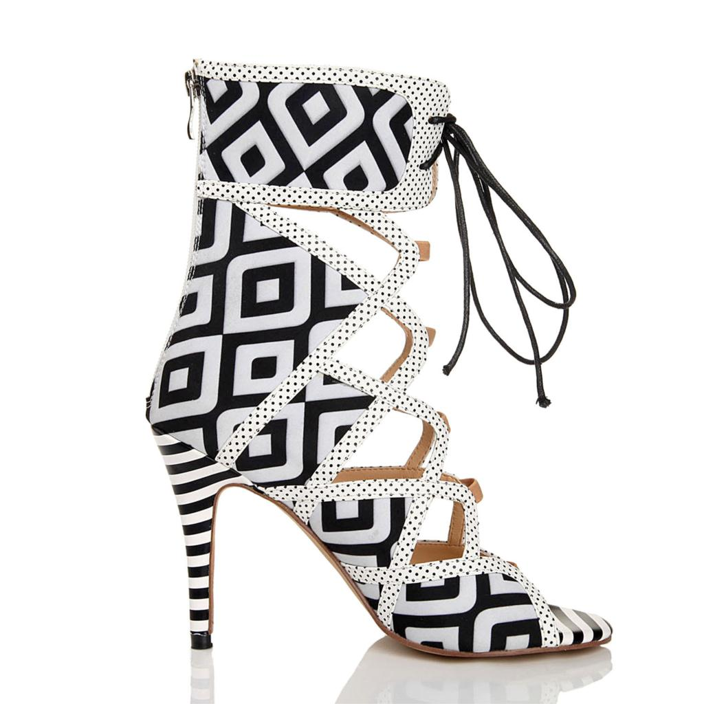 2015 fashion women black and white stripes short geometry high heels sandal boots club cut summer cool roma boots