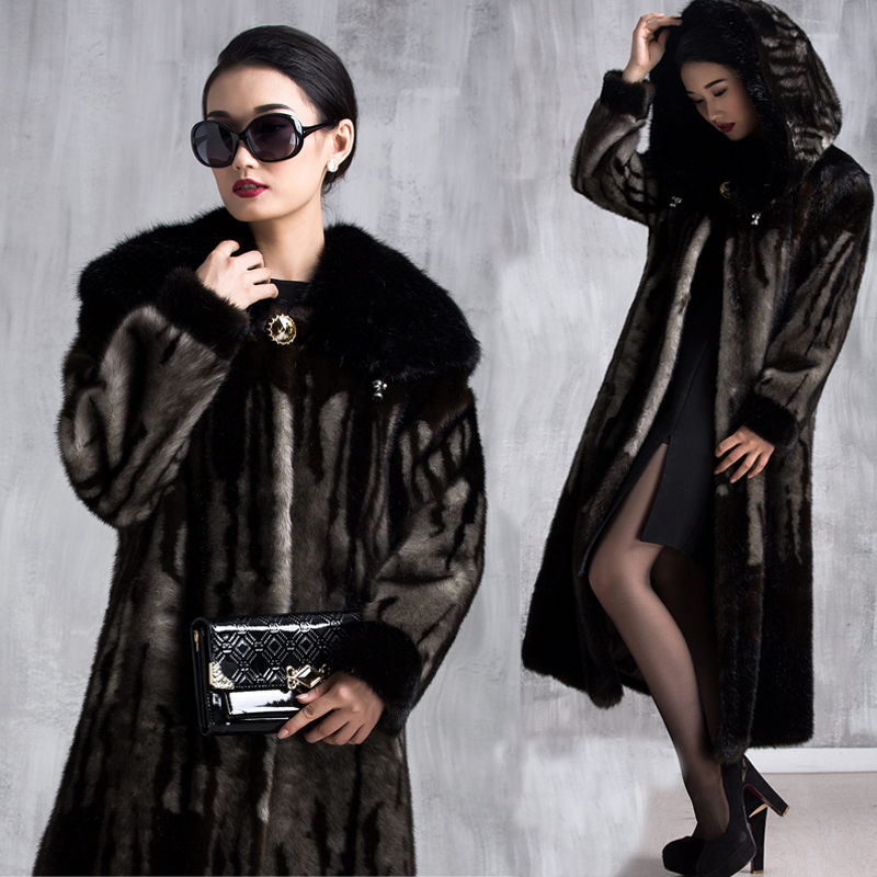 2015 Quinquagenarian imitation mink coats plus size plus size ultra long female faux ultra long paragraph thickening coats(China (Mainland))