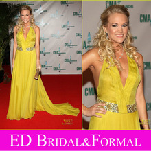 Carrie Underwood Dress CMA Awards 2008 Red Carpet V Neck Yellow Chiffon Halter Celebrity Evening Gown(China (Mainland))