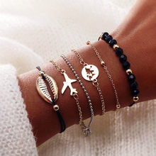 Fashion Bohemian Leaf Love Letter Shell Hand Cuff Link Chain Charm Bracelet Bangle for Women Gold Bracelets Femme Jewelry Gifts(China)