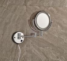 LED Light Brass Chrome Polish Make-up Mirror Wall Mounted Double Sides Bath 3X make-up mirror(China (Mainland))