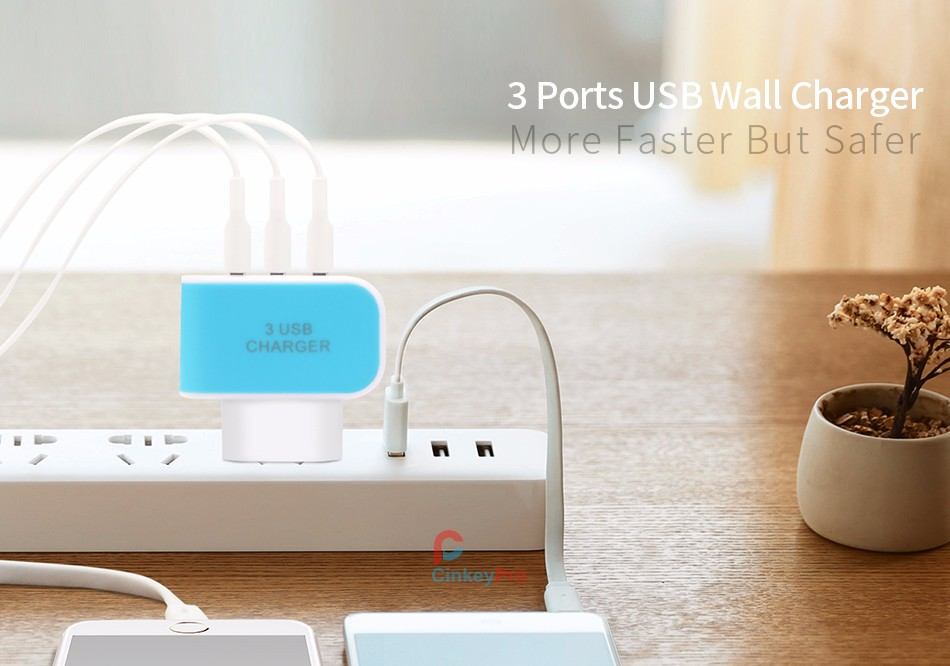 CinkeyPro EU Plug 3 Ports Multiple Wall USB Smart Charger Adapter Mobile Phone Device 5V 3A Fast Charging for iPhone iPad