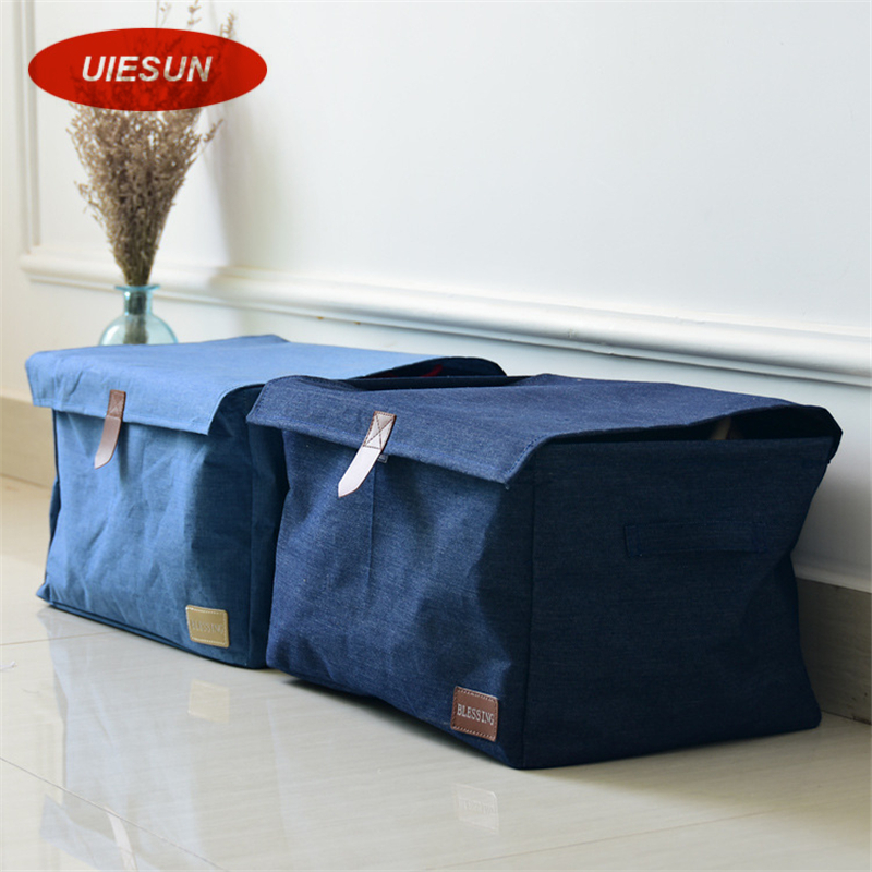 2017 New Arrival Korean Style Denim Clothing Organizers Bedroom Sundries Box Clothes Storage Boxes Case Organizador UIE686(China (Mainland))
