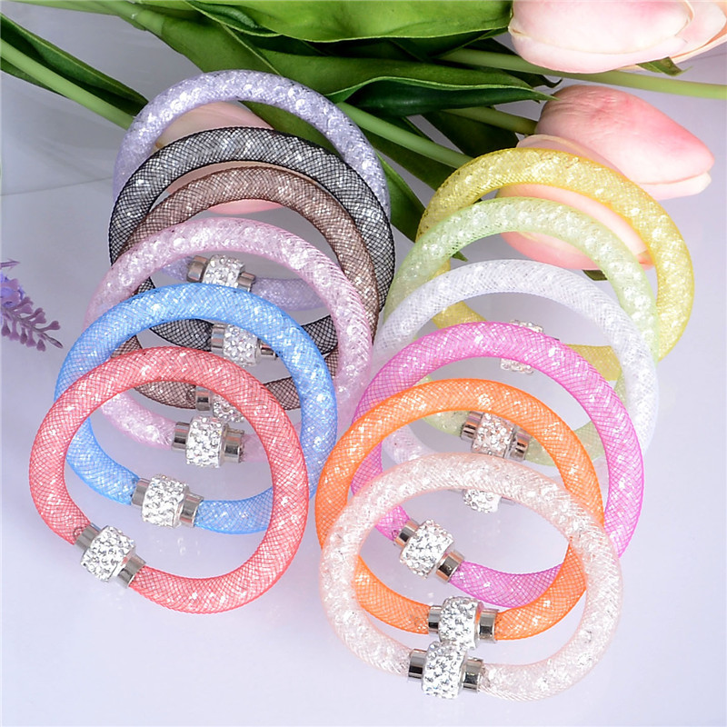 Free Shipping Colorful Bracelet Magnetic Crystal Cuff Bracelet Wrap Mesh Magnetic Clasp Double Gift(China (Mainland))