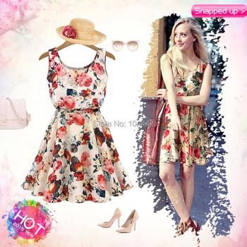 Цветочные майка печатные пляж шифоновое платье 2015 новинка европейский стиль весна лето осень женщины свободного покроя чешские