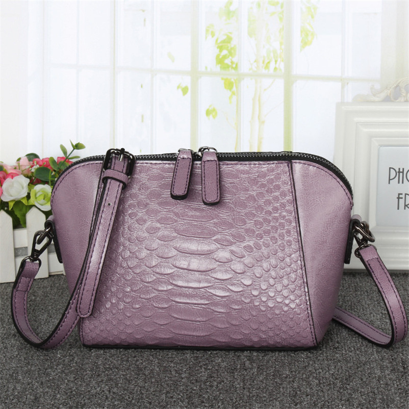 Фотография Women Leather Handbags Crossbody Bags Leather Bags for women Bolsas crocodile bag famous brands shell bag small shoulder bag