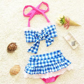 High Quality!2015 New Hot Children Bathing Swimwear Baby Girls Kids Cartoon Lovely Plaid Bikini Beachwear Two Pieces swimsuit