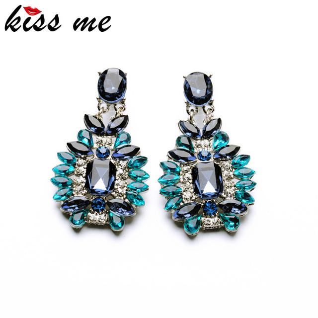 Шицзе 2015 заявление модные ювелирные изделия элегантный блестящий смола камень синий завод серьги фабрики оптовая продажа