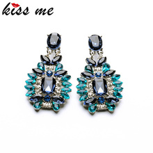 Shijie 2015 Statement Trendy Jewelry Elegant Shiny Resin Stone Blue Plant Stud Earrings Factory Wholesale(China (Mainland))