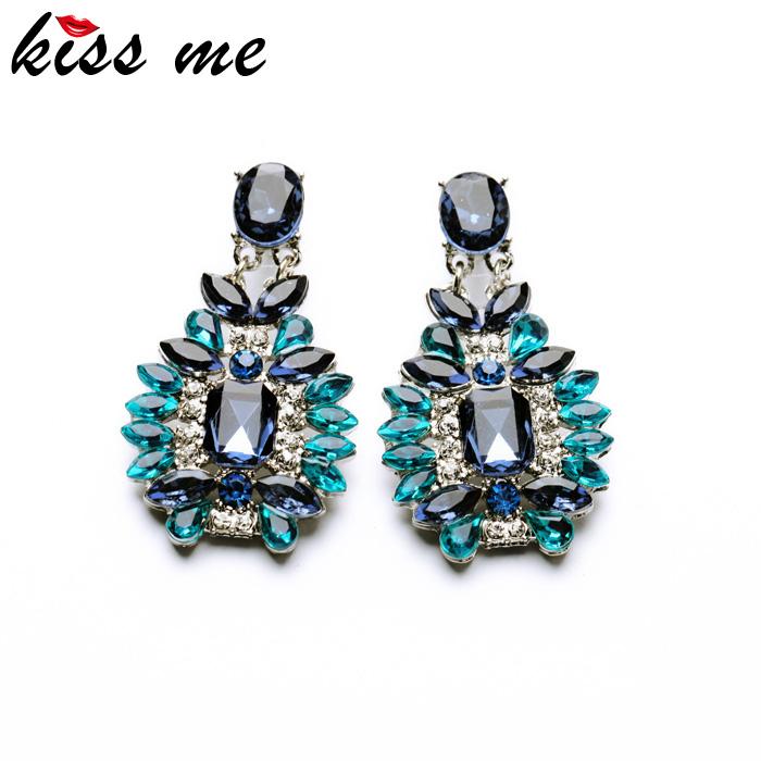 Shijie 2015 Statement Trendy Jewelry Elegant Shiny Resin Stone Blue Plant Stud Earrings Factory Wholesale