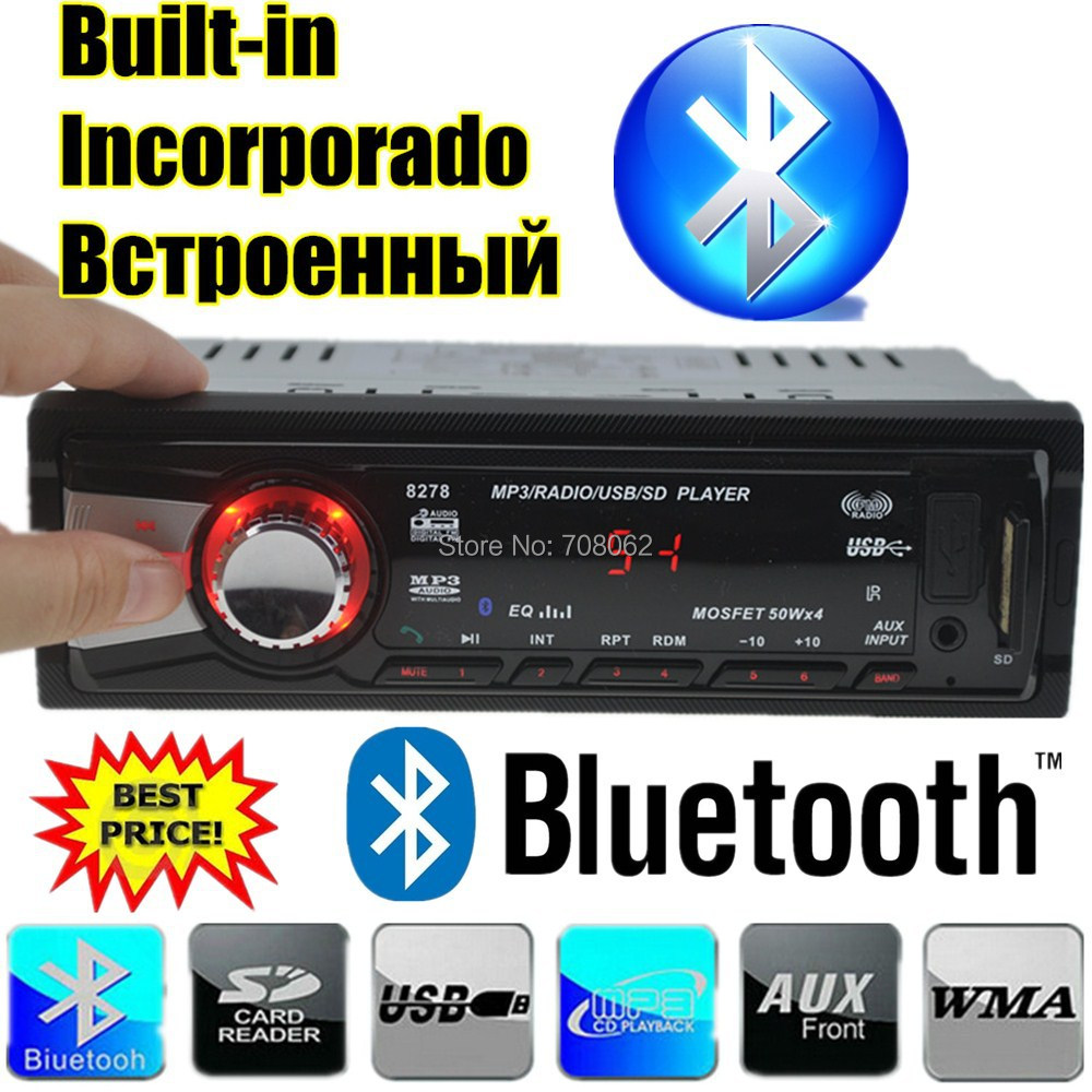 2015 New style Car Radio Stereo Player Bluetooth Phone AUX-IN MP3 FM/USB/1 Din/Remote Control For iPhone/Samsung Android 12V(China (Mainland))