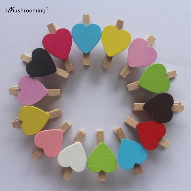 50X MINI Mix Colors Peach Heart Craft Wooden Clips Pegs Prefect for Party Event Wedding Decoration Accessories Baby Shower