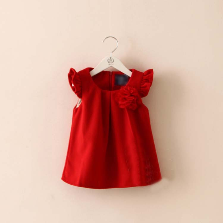 2015 spring new floral lined dress baby girls solid color dress sleeveless cute A-line dress A1624(China (Mainland))