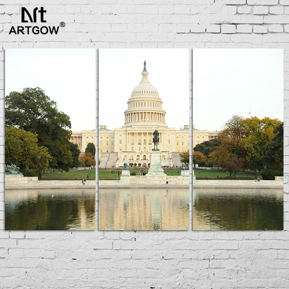 3pcs Landscape Decoration The White House Canvas Painting on wall hanging home decor scenery building river wedding decoration(China (Mainland))