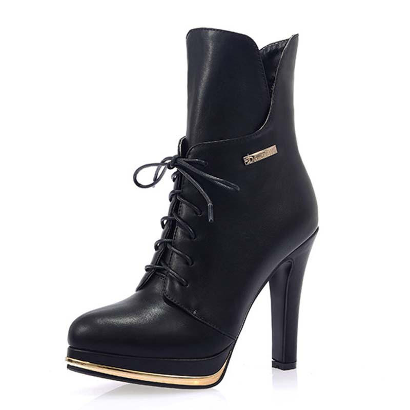 Black PU Leather Motorcycle Women Ankle Boots Winter short boots thick Heel Shoes new lace up big size43 Martin boots