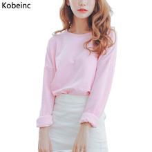 New Candy-Colored Sweatshirt Women Autumn Short Paragraph Long-Sleeved Hoodies 2016 Fashion Solid Pullovers Sweatshirt Moletom(China (Mainland))