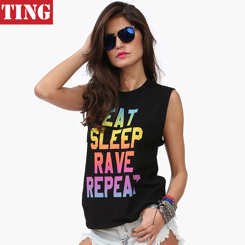 EAT SLEEP RAVE REPEAT Neon Letter print Women Vest Tank top Camisole Summer Casual Brand Sleeveless Sexy Tops A283 - Ting Boutique store