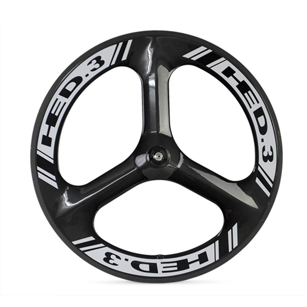 Hed 3 tri spoke clincher carbon fiber track bike front for Bicycle rims