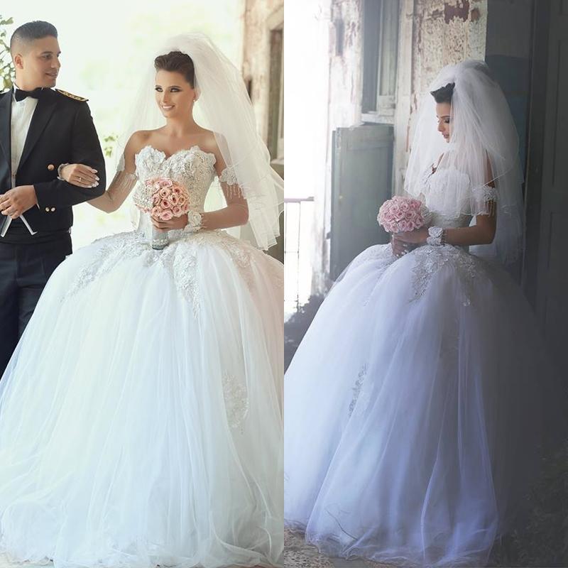 Vestidos de noiva detachable long sleeves lace wedding for Wedding dress detachable sleeves