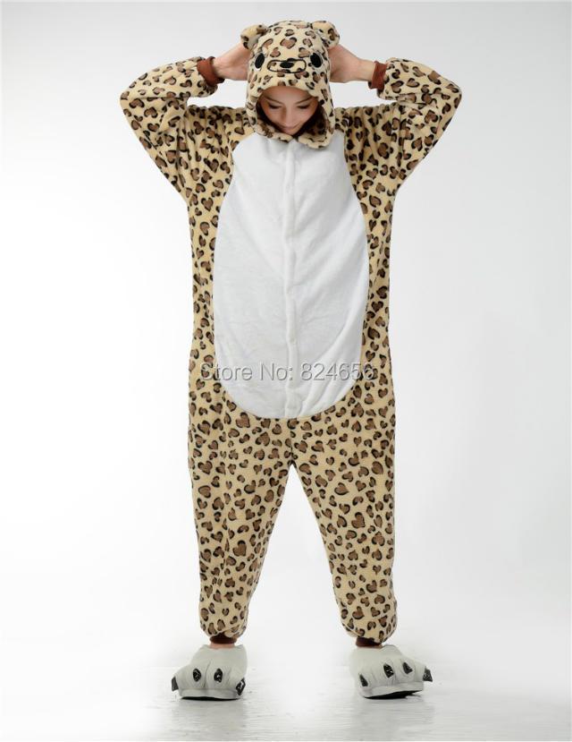 2015 Free Shipping Animal Onesies Pajamas Adult Animal Pajamas Cosplay Costume Flannel Pajamas Adult Sleepsuit leopard bear(China (Mainland))