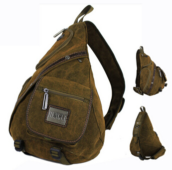 Cotton canvas sling back pack chest bag for men Retro big men's shoulder cross body messenger bags Free shipping(China (Mainland))