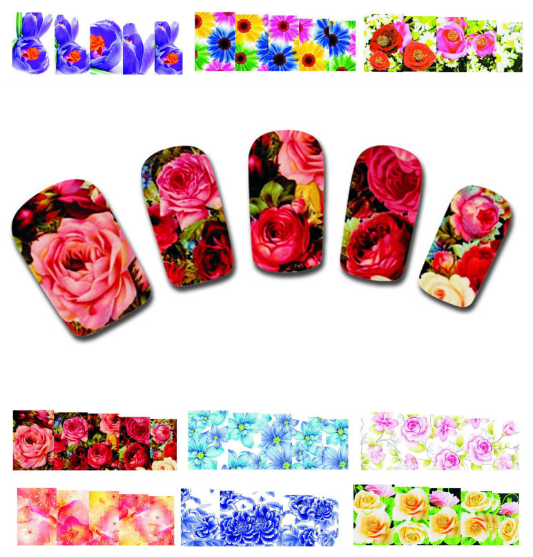 50Sheets XF1372-1421 Nail Art Flower Water Tranfer Sticker Nails Beauty Wraps Foil Polish Decals Temporary Tattoos Watermark - Blingway Care products Co., Ltd. store