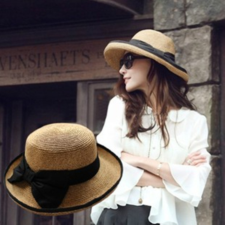 2015 New Arrived hat female black bow topped straw hat Dayan Mao beach hat Hemming bucket hat wide brim hats(China (Mainland))