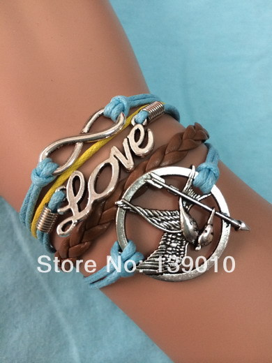 New Fashion Metal Silver Tone Hunger Game Bird LOVE Infinity Mixed Brown Blue Leather Rope Charms Lobster Clasp Bracelet Bangles(China (Mainland))