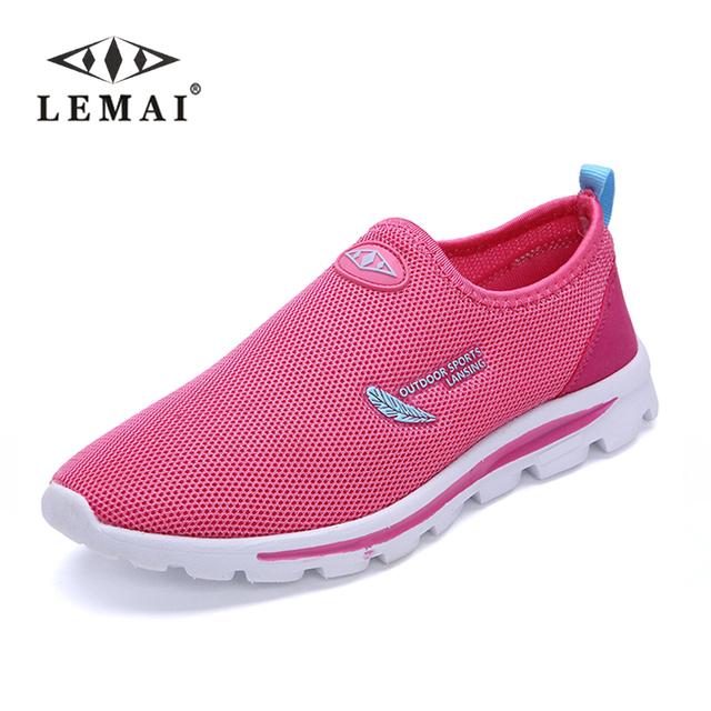 Женщины свободного покроя воздухопроницаемой сеткой обувь для ходьбы квартиры круглым ...