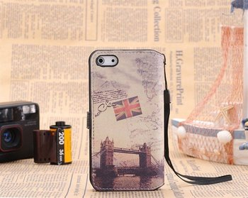 Free shipping via dhl/ems!100pcs/lot wholesale,The word's Map Flip phone bag for iphone5 Cover Case For new iPhone 5