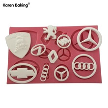 New Arrival Car Logo Shape 3D Silicone Fondant Cake Mold Tools For Cake Decorating   C496(China (Mainland))