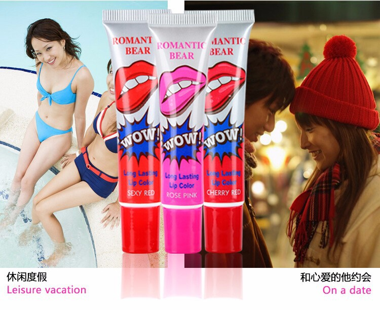 Romantic Bear Liquid Matte Lipstick Tatoo Labiales Pintalabios Wow Lips Waterproof Cosmetic Lip Gloss 2016