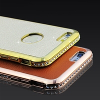 for iphone6! Deluxe Genuine Real Leather with Bling Rhinestone Diamond Case for Apple iphone 6 4.7 Luxury Vintage Back Cover