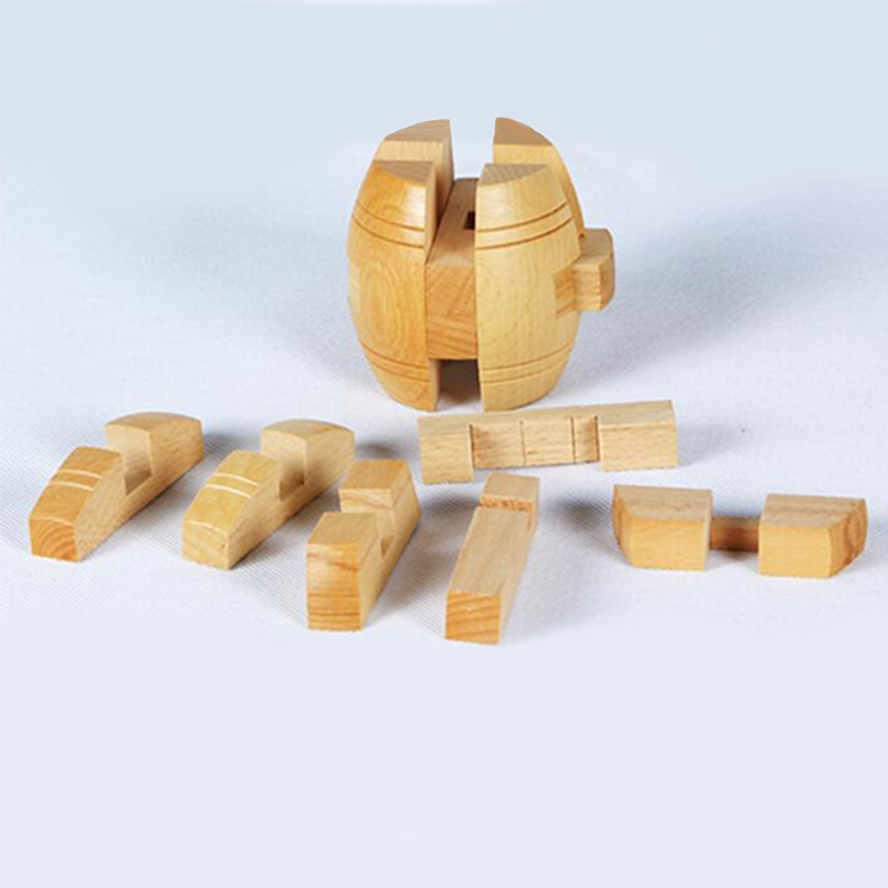 New Adult 3D Education Wooden Puzzle Brainteaser Beer Barrel Lock Jigsaw Wood Fancy Gift Toy for Children Juguetes Educativos(China (Mainland))
