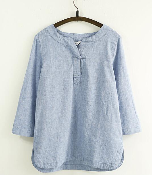 Simply Design Solid Color One Button Cotton Linen Women Loose Shirt Three Quarter Sleeve Spring Summer Comfortable Casual Blouse(China (Mainland))