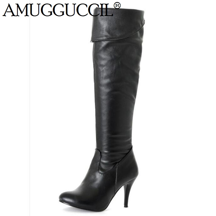 ! Plus Big Size 34-47 Black Brown White Blue Gray Knee Fashion Autumn High Heel Females Lady Womens Boots X333 - Great Shoes store