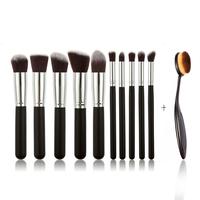 Pro Makeup Set Brush Set 10PCS Black Wood Handle Fiber Wool Bristles Kit Tube Brush+1 Toothbrush Brush