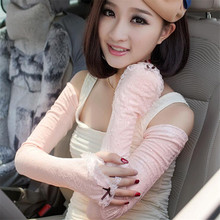 Fashion Sexy Women Summer Style Lace Flower Long Fingerless Sunscreen Shading Arm Warmers Party Wedding Driving Gloves Mittens(China (Mainland))
