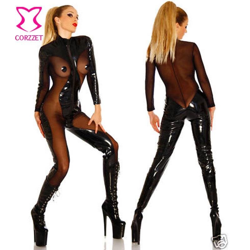 Something also transparent black latex catsuit