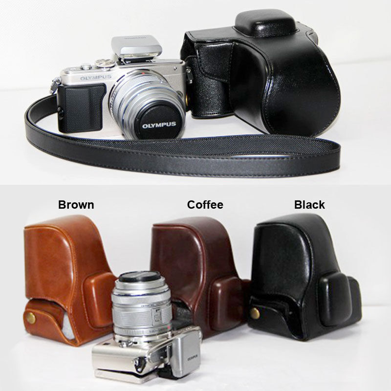 Genuine real Leather Half Camera Case bag for Olympus E-PL6 EPL6 E-PL5 EPL5 Black Bottom opening Version
