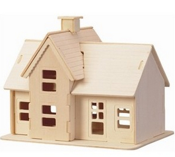 Educational Toys Wooden Build House Miniature Model 3D DIY Country Station Design Scale Models 19.5*14.5*16CM(China (Mainland))