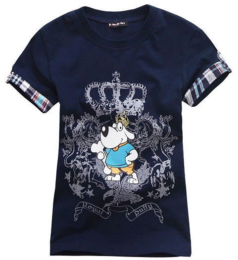 Wholesale 4 pcs summer Children Boy baby Kid black blue white cartoon pattern short sleeve sports cotton shirt/T-shirt PEXZ01P59