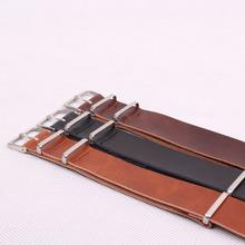 20 mm NATO Brown negro cuero de la PU moda venta al por mayor correas de reloj para hombre mujeres Casual relojes correas reloj Band Buckle cinturones