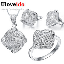 Uloveido CZ Diamond Wedding Bridal Jewelry Sets Vintage Silver Plated Fashion Necklace Pendant Earrings Ring Gift for Women T051(China (Mainland))